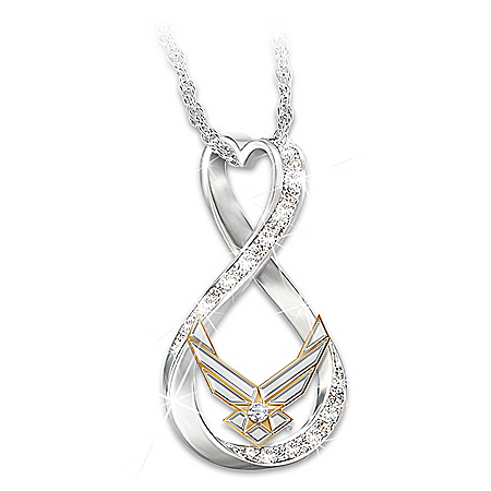 I Love My Airman Women's Swarovski Crystal Necklace