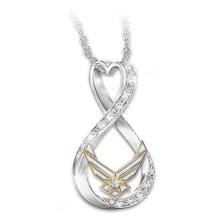 I Love My Airman Women's Swarovski Crystal Necklace