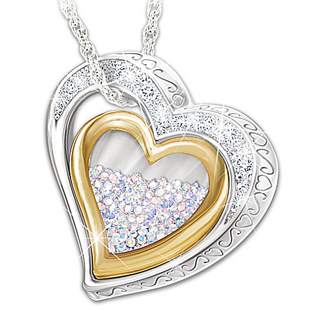 Women's Personalized Heart-Shaped Necklace With 365 Free-Floating Aurora Borealis Crystals & 18K Gold-Plated Accents – Personali