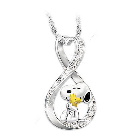 PEANUTS Snoopy And Woodstock Infinity Pendant Necklace
