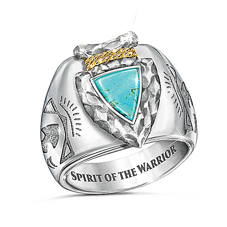Strength Of The Warrior Arrowhead Design Turquoise Ring