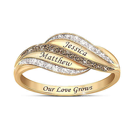 Our Love Grows Forever Women's Personalized White & Mocha Diamond Ring With 18K Gold-Plating – Personalized Jewelry