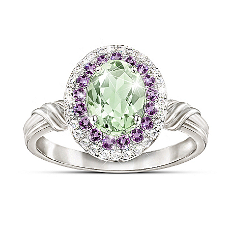 1.75-Carat Sage Quartz Ring With Amethyst And Topaz