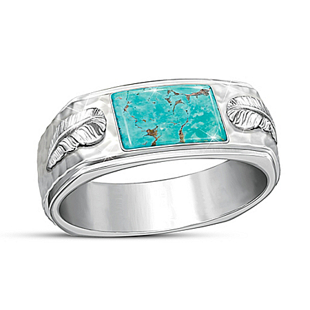 Sedona Canyon Sterling Silver Genuine Turquoise Men's Ring