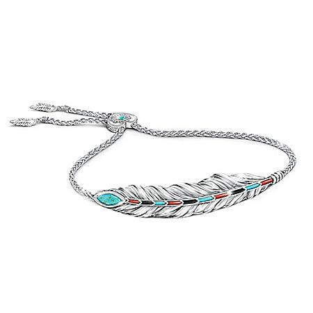 Sedona Canyon Women's Marquise-Cut Turquoise Bolo Bracelet