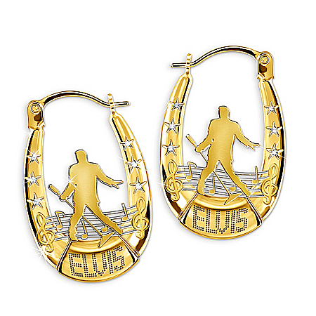 Elvis Presley Hoop Earrings With Swarovski Crystals
