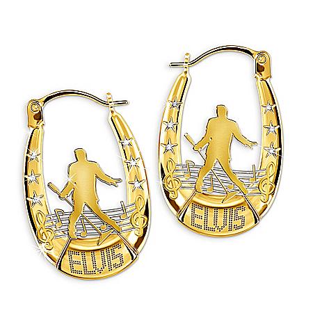 Elvis Presley Hoop Earrings With Swarovski Crystals