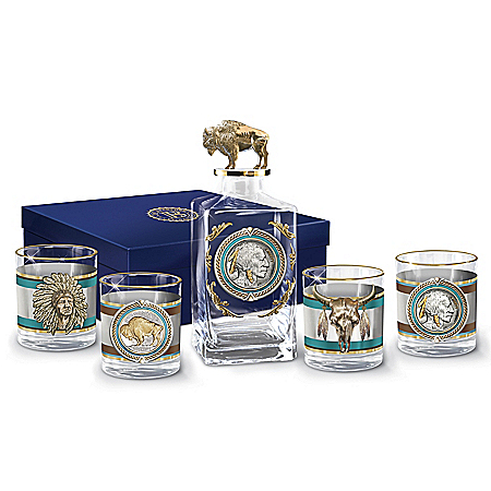 Western Buffalo Nickel Five-Piece Decanter And Glasses Set