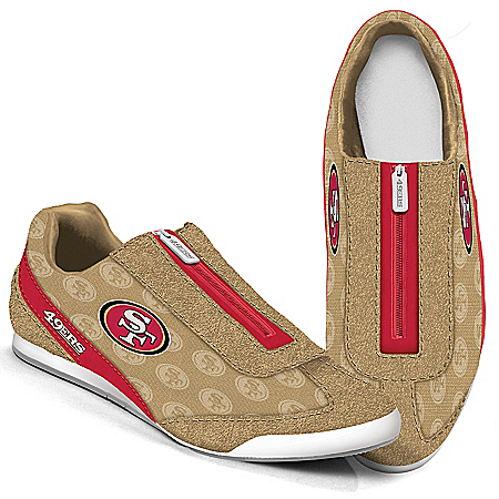 San Francisco 49ers Logo-Pattern Zipper Canvas Sneakers