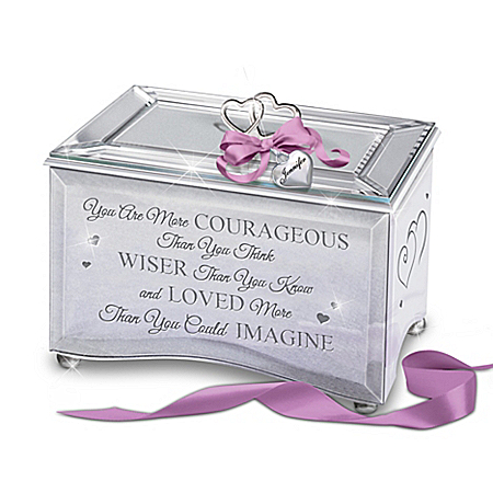 Strength Of A Woman Personalized Mirrored Keepsake Music Box With Heart-Shaped Charm – Personalized Jewelry