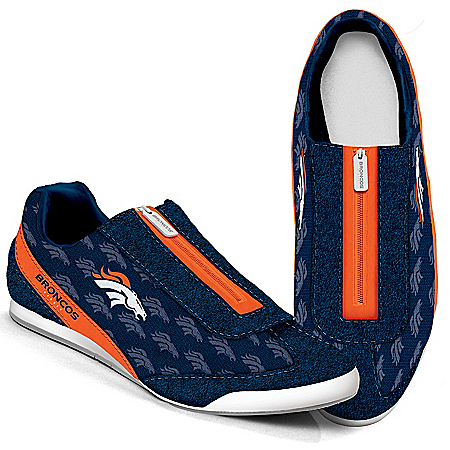 Denver Broncos Logo-Pattern Zipper Canvas Sneakers