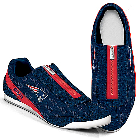 New England Patriots Logo-Pattern Zipper Canvas Sneakers