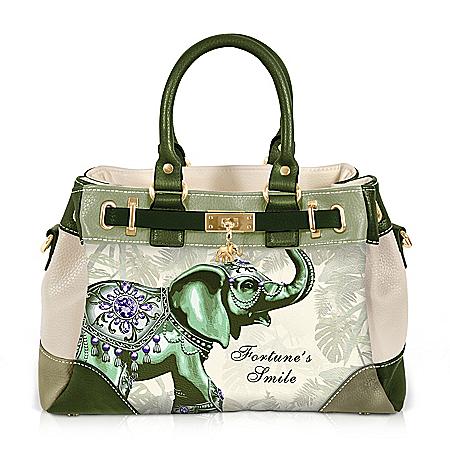 Fortune's Smile Fashion Handbag With Elephant Artwork