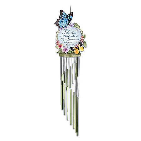 Messenger To Heaven Wind Chime With Sculpted Butterflies