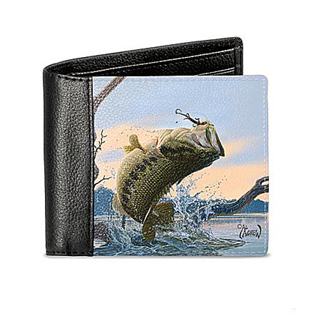 Al Agnew Bass Fishing Men's RFID Blocking Leather Wallet