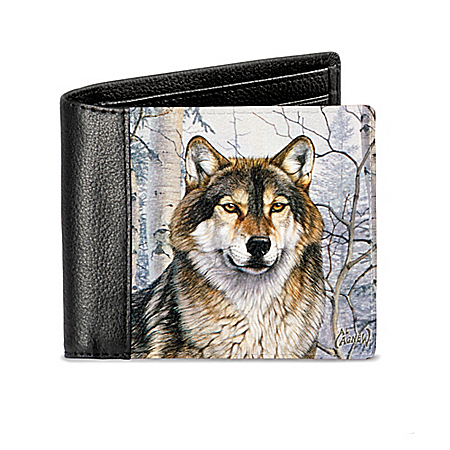 Al Agnew Wild Wolf Men's RFID Blocking Leather Wallet