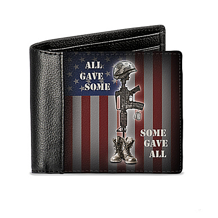 American Heroes Patriotic RFID Blocking Leather Wallet