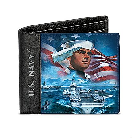 Dennis Lyall U.S. Navy Men's RFID Blocking Leather Wallet