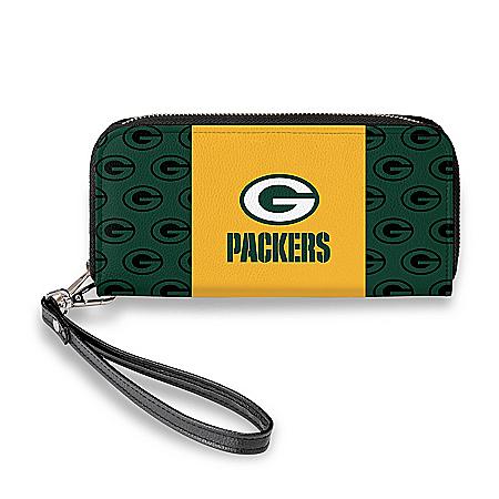 Green Bay Packers Women's Faux Leather Clutch Wallet