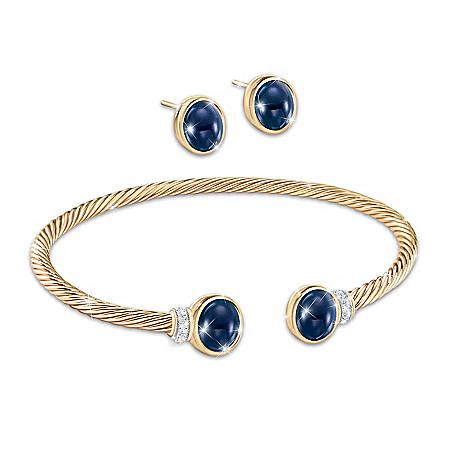Royal Family-Inspired Sapphire Earrings and Bracelet Set