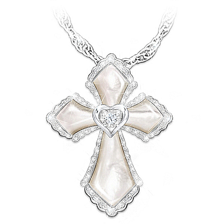Granddaughter Mother Of Pearl And Diamond Cross Necklace