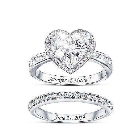 Surrounded By Love Women's Personalized Sterling Silver Bridal Ring Set Featuring Over 2 Carats Of Heart-Shaped Simulated Diamon
