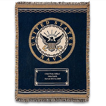 U.S. Navy Personalized Throw Blanket With Emblem