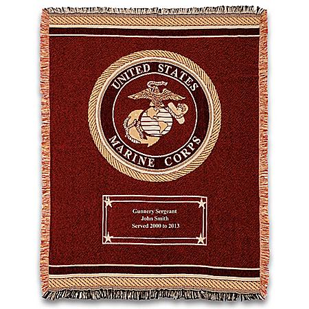 USMC Hero's Tribute Personalized Throw Blanket