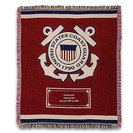 U.S. Coast Guard Personalized Throw Blanket With Emblem