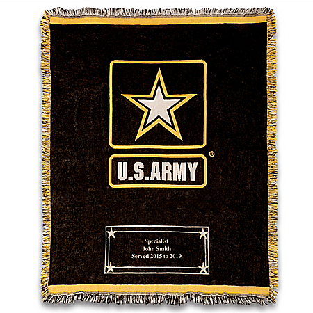 U.S. Army Personalized Cotton Throw Blanket With Logo