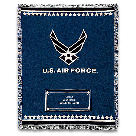 U.S. Air Force Personalized Cotton Throw Blanket With Symbol