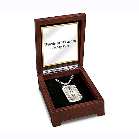 Words Of Wisdom To My Son Personalized Men's Stainless Steel Dog Tag Pendant Necklace Featuring 24K-Gold Plating – Personalized