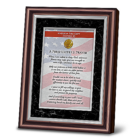 Personalized Framed Prayer Of Protection For Firefighters