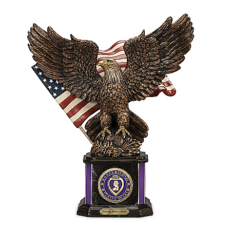 Purple Heart Cold-Cast Bronze Sculpture With Challenge Coin