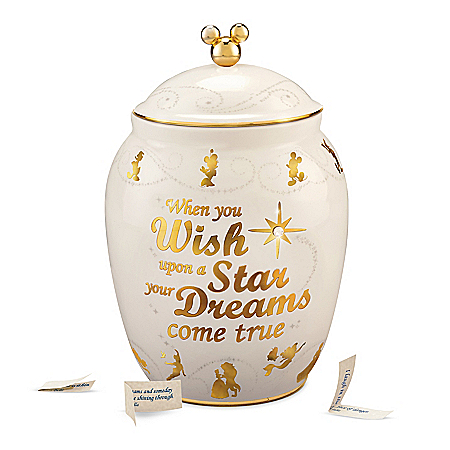 Disney Porcelain Musical Wish Jar & Character-Inspired Notes