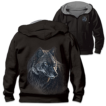 Al Agnew Reversible Full-Zip Hoodie With Wolf Portraits