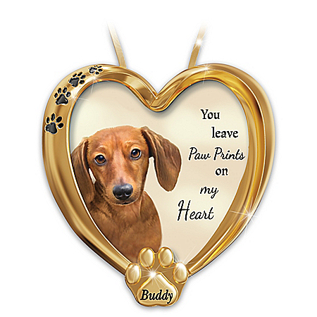 Paw Prints On My Heart Dachshund Personalized Ornament – Personalized Jewelry