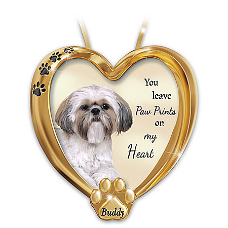 Paw Prints On My Heart Shih Tzu Personalized Ornament – Personalized Jewelry