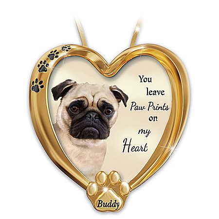 Paw Prints On My Heart Pug Personalized Ornament – Personalized Jewelry