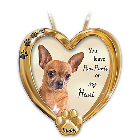 Paw Prints On My Heart Chihuahua Personalized Ornament – Personalized Jewelry