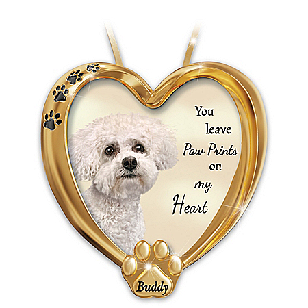 Paw Prints On My Heart Bichon Frise Personalized Ornament – Personalized Jewelry