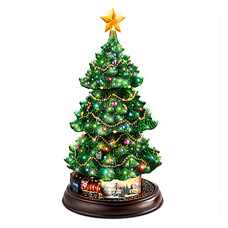 Thomas Kinkade Christmas Tree With Lights, Motion And Music