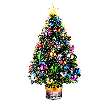 Thomas Kinkade Rotating Tree With Color-Changing Lights