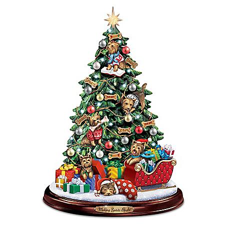 Yorkie Illuminated Tabletop Christmas Tree