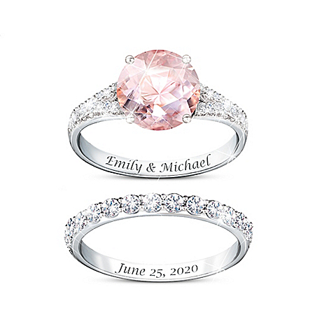 Love At First Sight Women's Platinum Plated Personalized Bridal Ring Set Featuring A 7-Carat Simulated Morganite Center Stone &