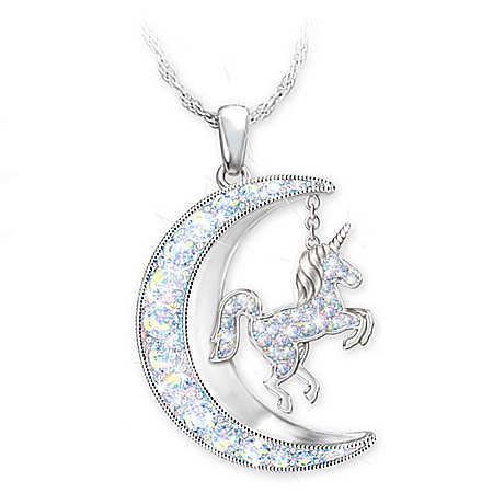 Unicorn Necklace With Aurora Borealis Crystals