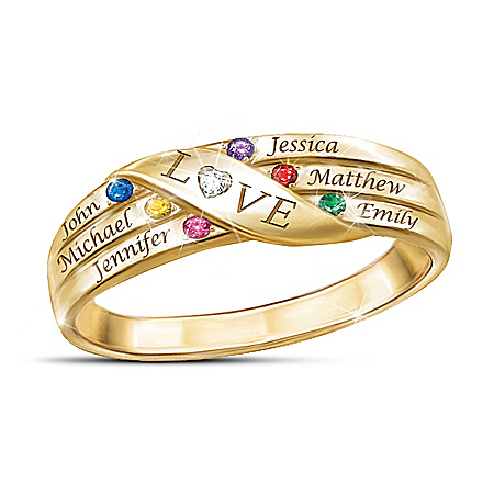 Love Holds Our Family Together Women's Personalized Diamond And Crystal Birthstone Ring – Personalized Jewelry