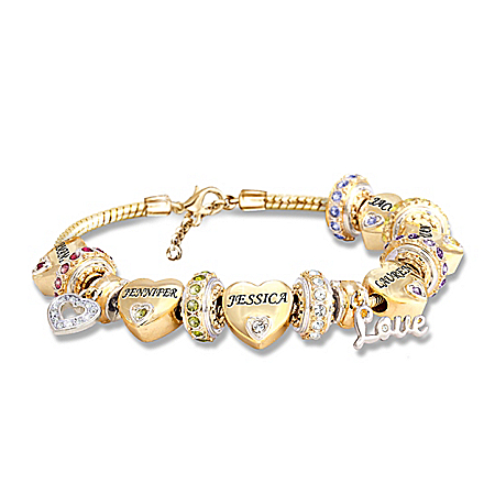 Forever In A Mother's Heart Women's 18K Gold-Plated Personalized Birthstone Bracelet With Swarovski Crystals – Personalized Jewe
