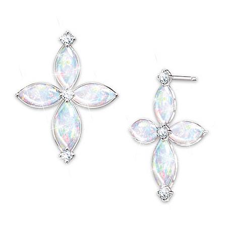 The Holy Trinity Australian Opal And Diamond Earrings