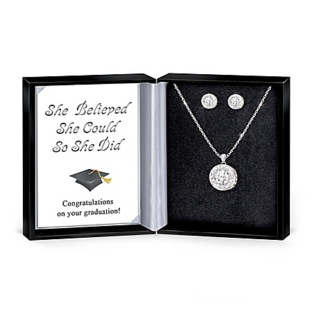 Graduation Necklace And Earrings With 5 Carats of Crystals